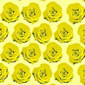 Pop Art Yellow Roses Screenprint Pattern