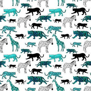 Jungle Animals in Turquoise