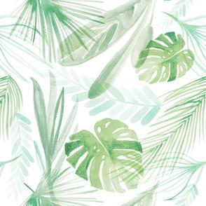 Watercolor Jungle Leaves Linen