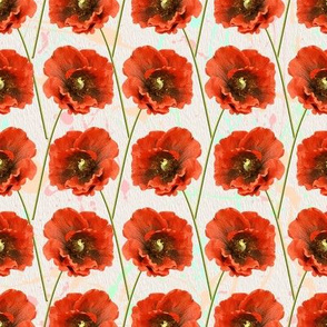 Watercolor Red Poppy Pattern Seamless