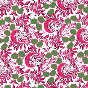 Russian Khokhloma Floral Flourishes Folk Art Pattern