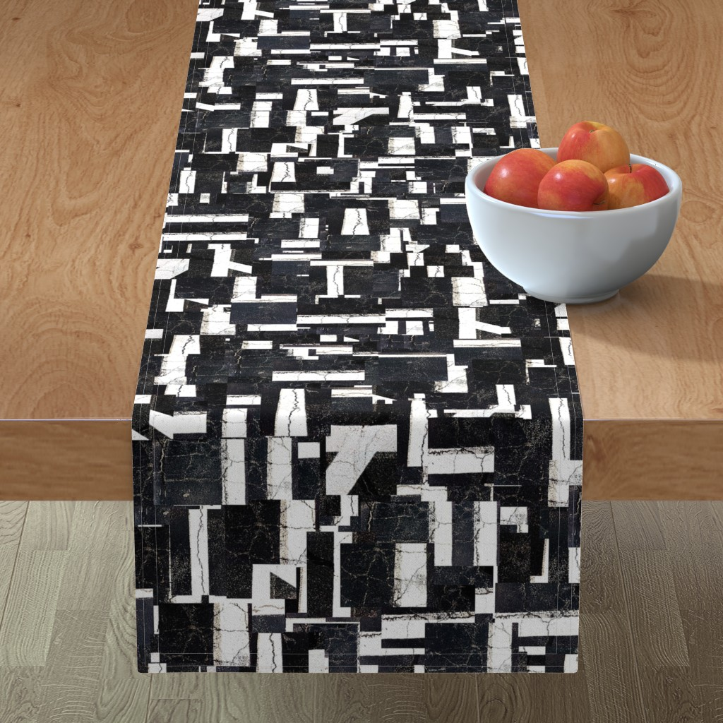 Minorca Table Runner featuring Black and White  Grid by thephotogardener