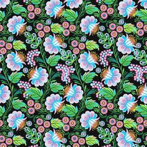 Vintage Dark Khokhloma Floral Pattern