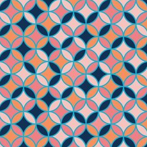 Bohemian Geometric Circles, Pink and Blue Shapes