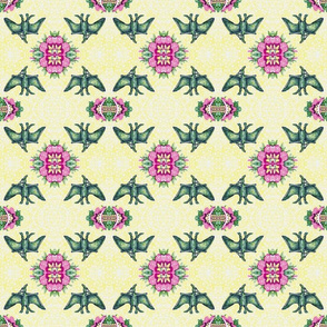Pterodactyl Lace - Yellow, Pink, and Green
