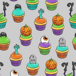 Halloween Cupcakes - fun halloween treats - witch, eyeball, zombie, spider - grey - LAD19