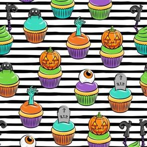 Halloween Cupcakes - fun halloween treats - witch, eyeball, zombie, spider - black stripes - LAD19