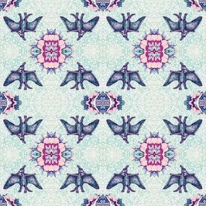 Pterodactyl Lace - Purple & Turquoise