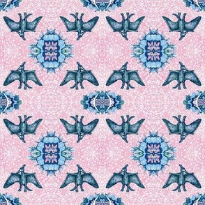 Pterodactyl Lace - Pink & Blue