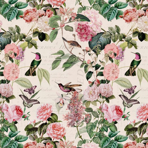 Hummingbirds and Roses