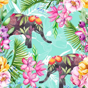 Colorful Elephant And Flower Pattern