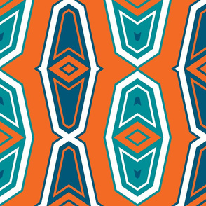 The Aqua and the Orange: Deco Shapes with White