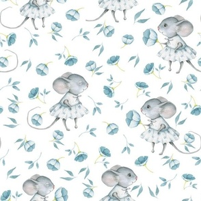 """12"""" Cute baby mouse girl and flowers, mouse fabric, baby fabric,nursery fabric and mouse nursery on flower meadow"""