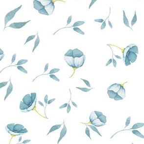 Tiny blue hand drawn watercolor flowers on white - Mix & Match with my Mice patterns