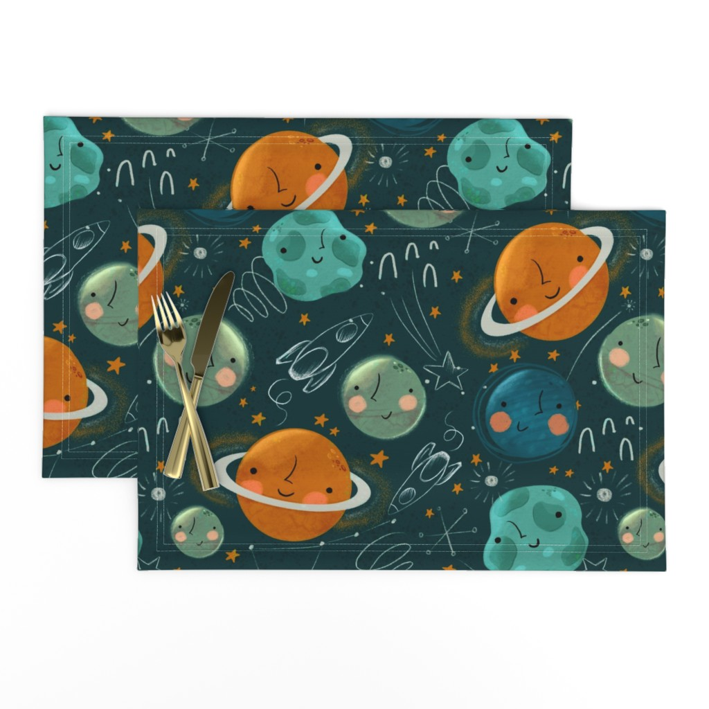 Lamona Cloth Placemats featuring Planets Pattern by fineapple_pair