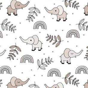 Little elephant rainbow jungle garden botanical leaves and flowers kawaii sand neutral beige soft baby nursery
