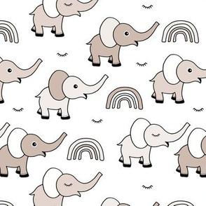 Little elephant rainbow good night sleep tight kawaii soft baby nursery illustration sand neutral beige