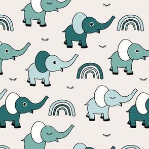 Little elephant rainbow good night sleep tight kawaii soft baby nursery illustration neutral boys green mint winter