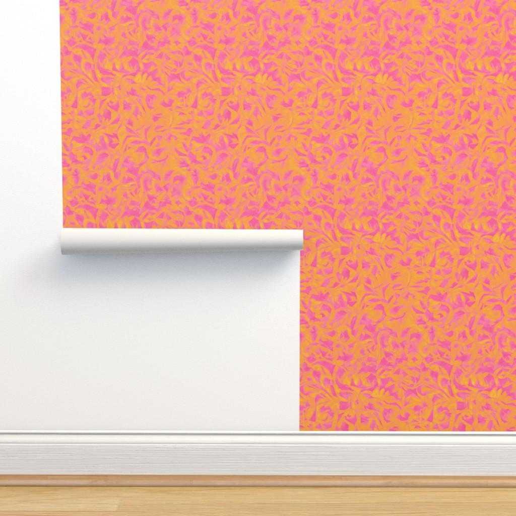 Isobar Durable Wallpaper featuring blaze-orange-hunt-pink by wren_leyland