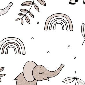 Little elephant rainbow jungle garden botanical leaves and flowers kawaii sand neutral beige soft baby nursery JUMBO
