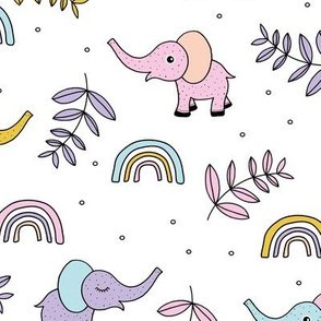 Little elephant rainbow jungle garden botanical leaves and flowers kawaii lilac pink yellow girls JUMBO