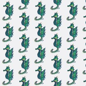 Seahorses on white