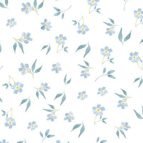 Tiny blue hand drawn watercolor flowers on white - Mix & Match with my Mice patterns 2