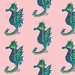 Seahorses on Pink