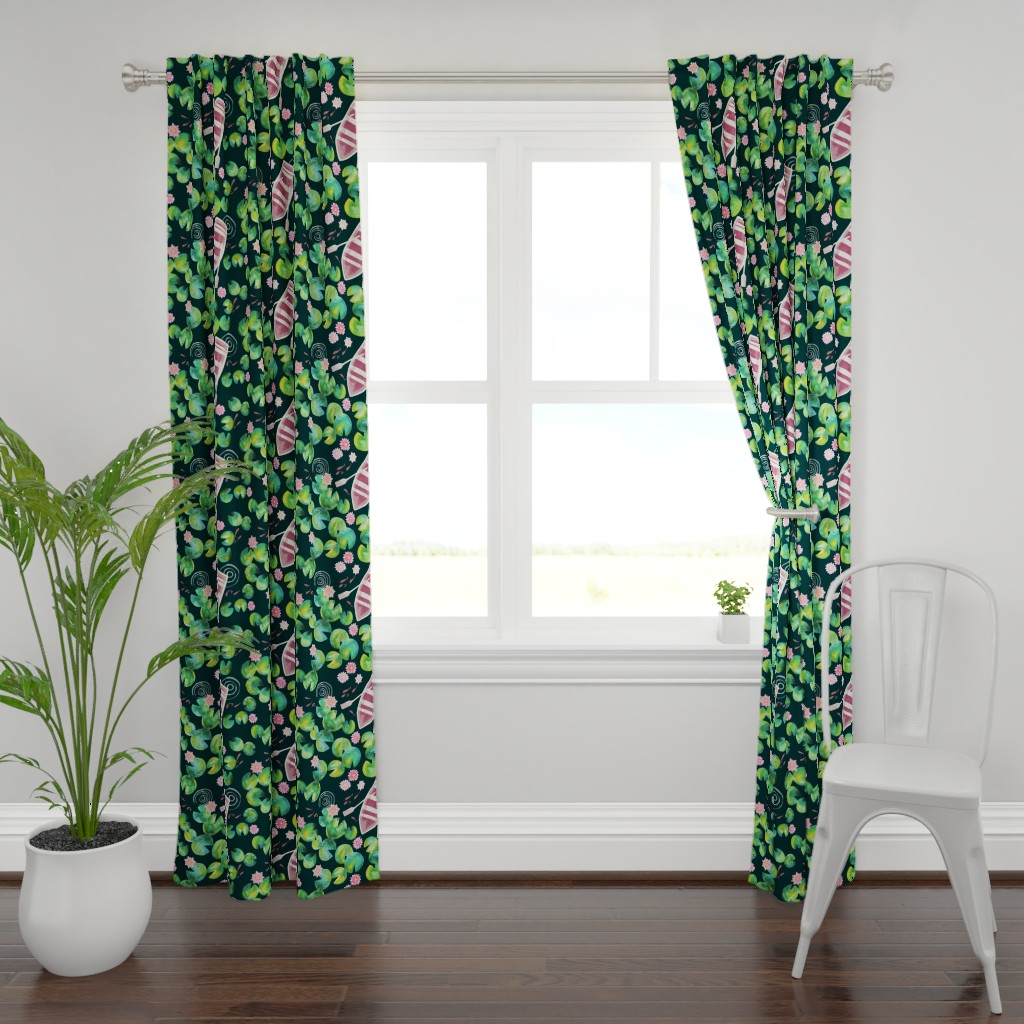 Plymouth Curtain Panel featuring Waterlily Pond by ohn_mar_win