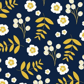 Bohemian summer blossom botanical leaves and cherry flower branch indian summer navy blue ochre yellow
