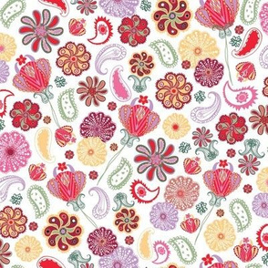 Paisley Blooms - WHITE