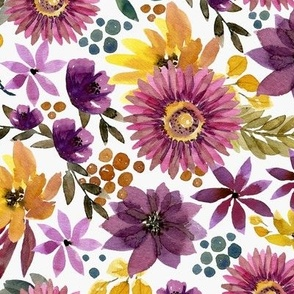 mustard and plum fall floral