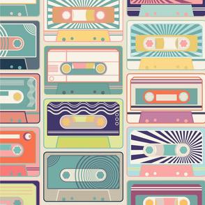 Retro Cassette Tapes - Half Drop - Large Scale