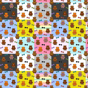 Brownie the Bear & Friends LOVE Bow Ties - patchwork #1
