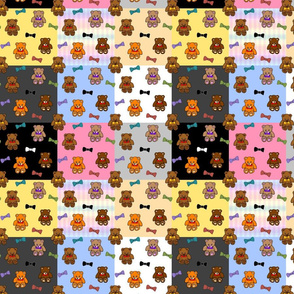 Brownie the Bear & Friends LOVE Bow Ties - patchwork #2 (large)