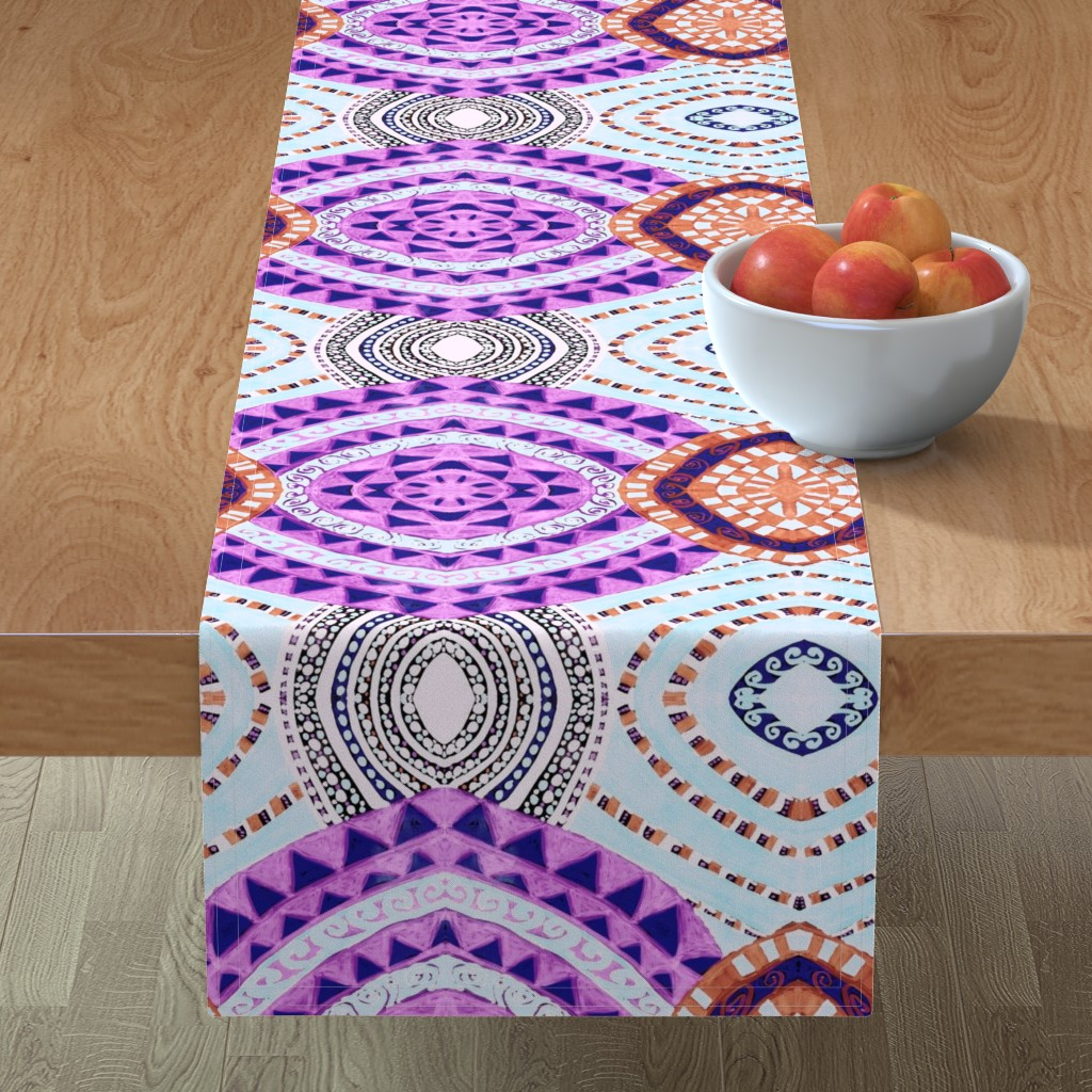 Minorca Table Runner featuring COLORFUL CIRCLES FOR FUN CV1-MIRROR by karenspix