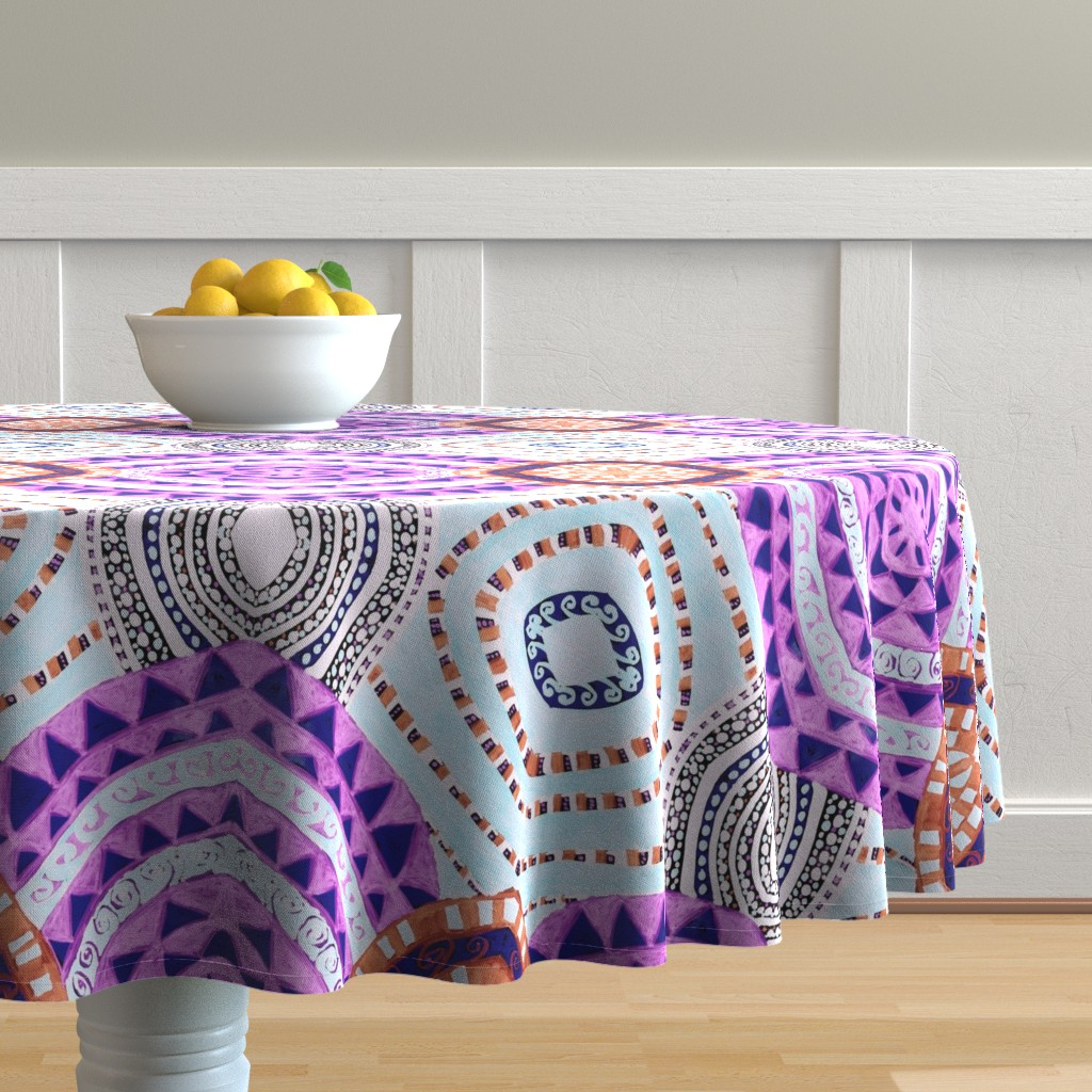 Malay Round Tablecloth featuring COLORFUL CIRCLES FOR FUN CV1-MIRROR by karenspix