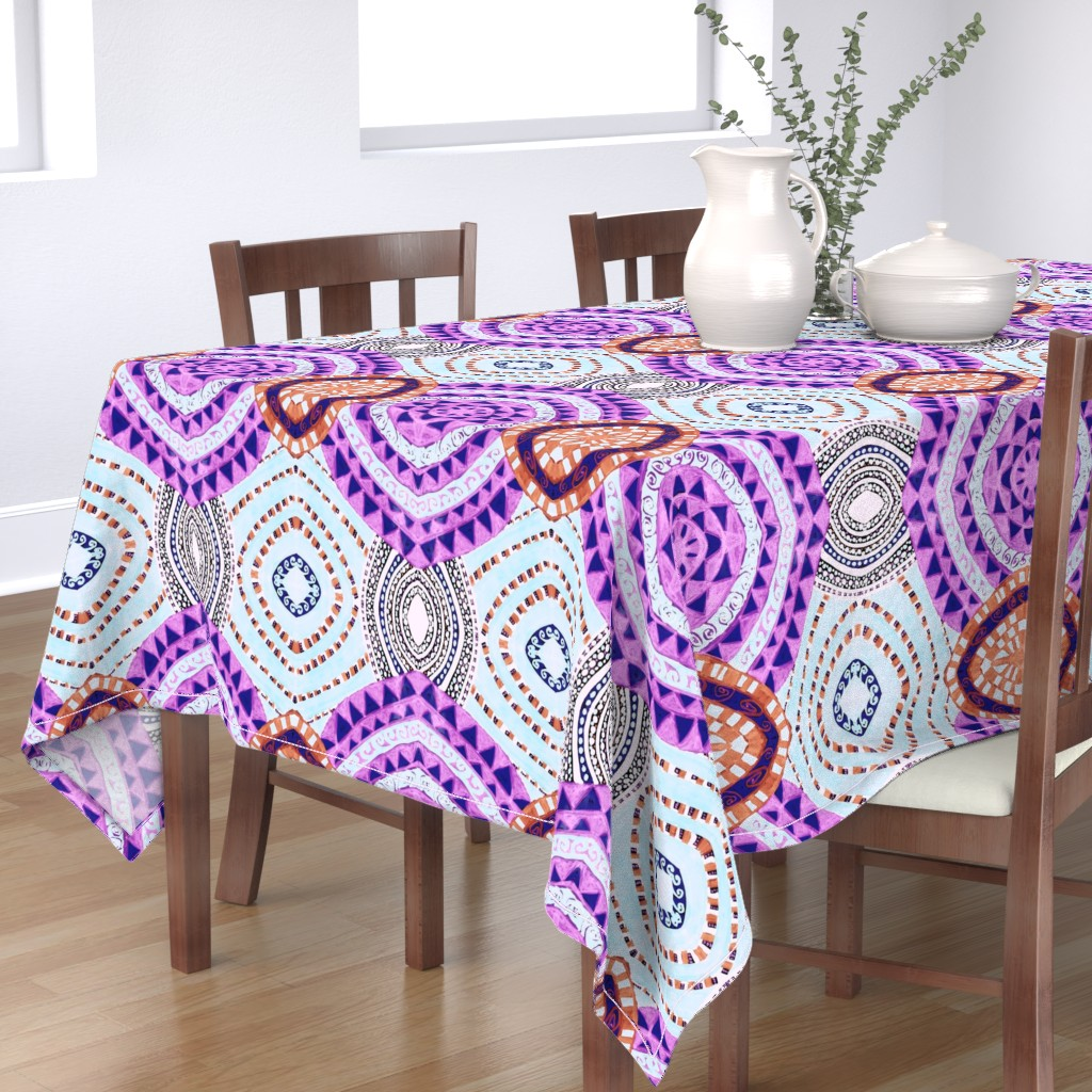 Bantam Rectangular Tablecloth featuring COLORFUL CIRCLES FOR FUN CV1-MIRROR by karenspix