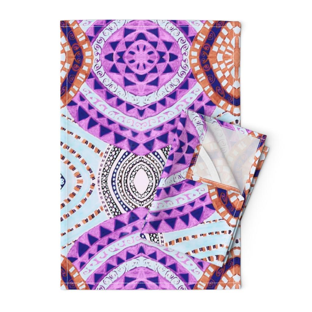 Orpington Tea Towels featuring COLORFUL CIRCLES FOR FUN CV1-MIRROR by karenspix