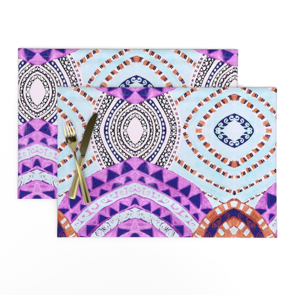Lamona Cloth Placemats featuring COLORFUL CIRCLES FOR FUN CV1-MIRROR by karenspix