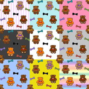 Brownie the Bear & Friends LOVE Bow Ties - patchwork #1 (large)