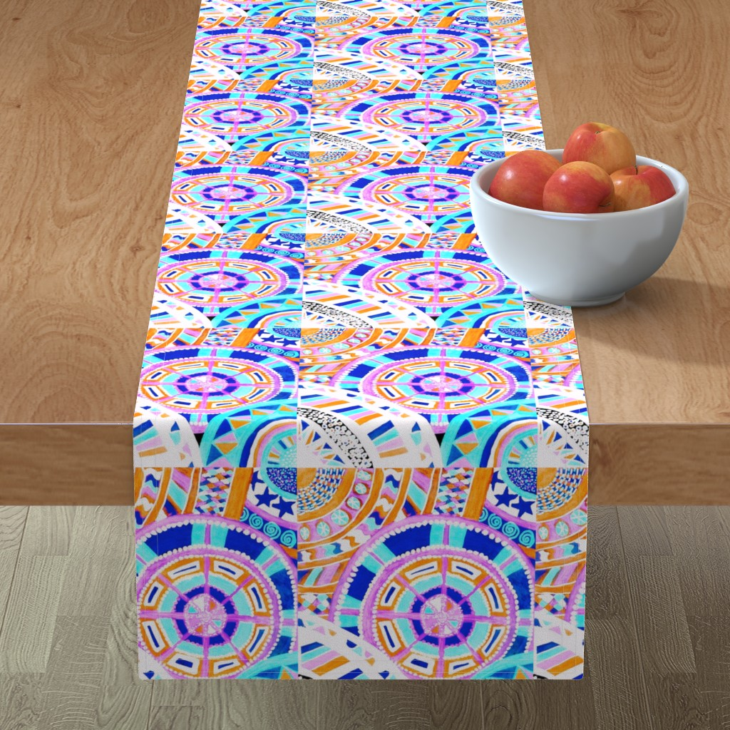 Minorca Table Runner featuring COLORFUL CIRCLES FOR FUN 2 CV1-BASIC by karenspix