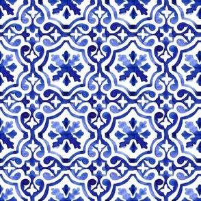 Blue Lisbon tiles watercolor