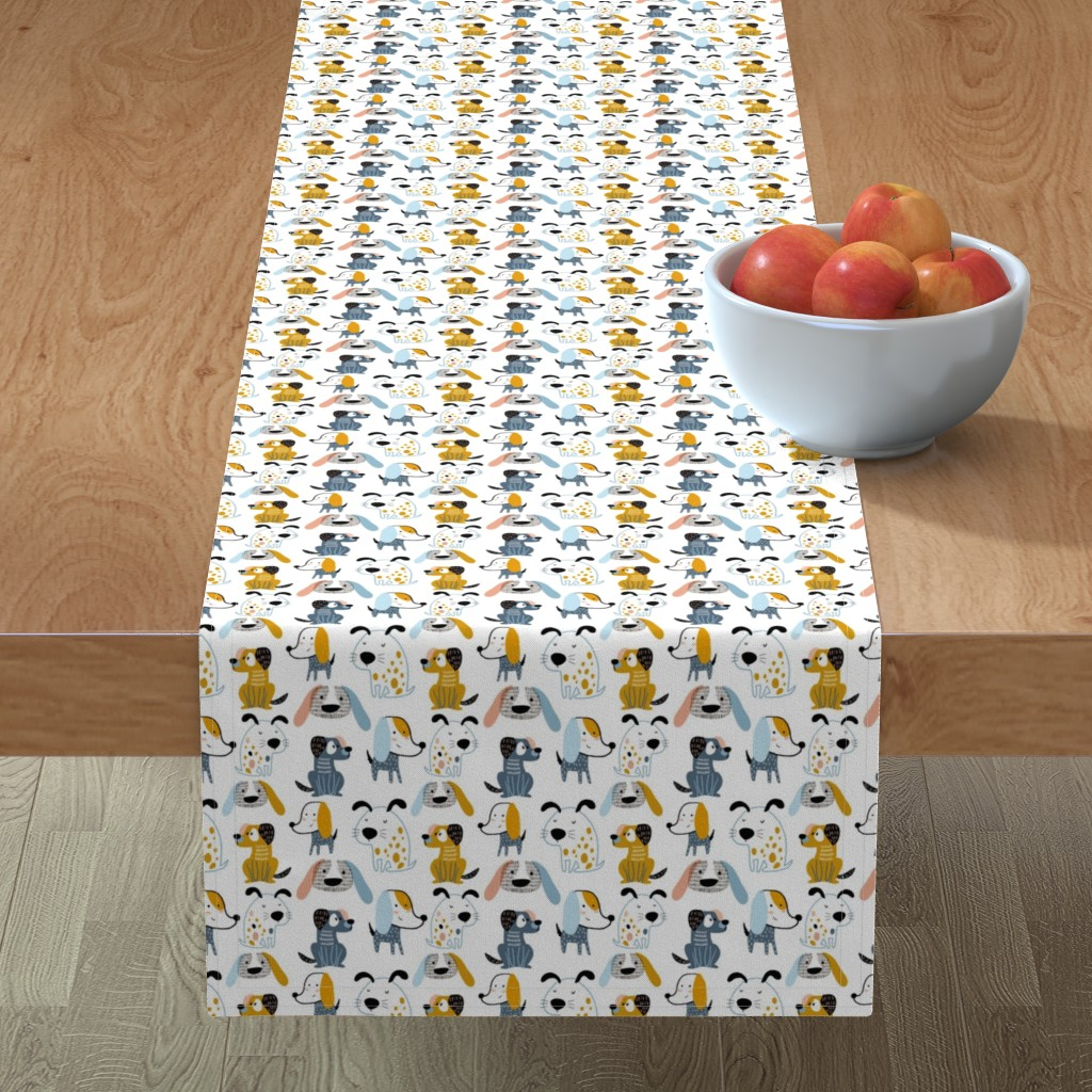 Minorca Table Runner featuring Cute dogs by solmariart