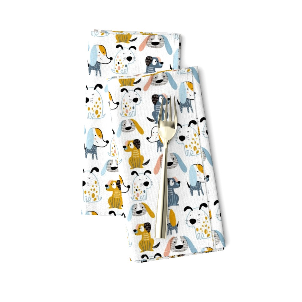Amarela Dinner Napkins featuring Cute dogs by solmariart