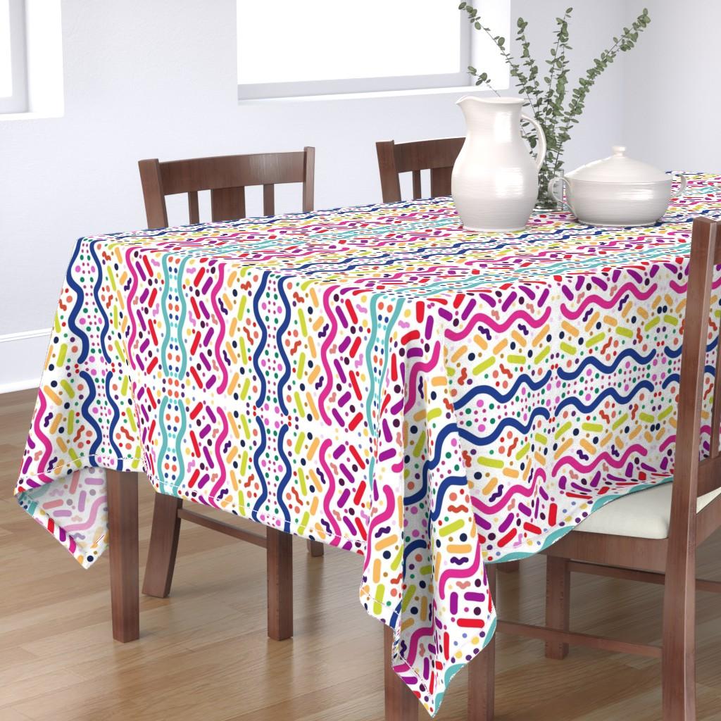 Bantam Rectangular Tablecloth featuring Carnival Fun - mirror (white) by bravenewart