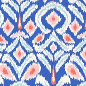 ikat flower - bright blue