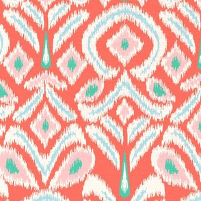 ikat flower - coral