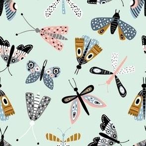 Butterflies on mint in scandinavian style