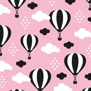 Soft pastel clouds black and white hot air balloon and love sky scandinavian style illustration pattern pink